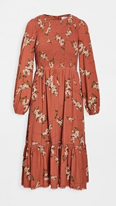 Lost + Wander Champagne At The Palace Midi Dress Amber Multi ~ floral smock bodice dresses