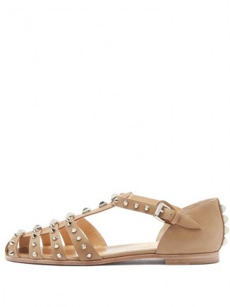 CHRISTIAN LOUBOUTIN LoubiClou studded caged leather sandals in beige ~ spiked flats ~ stud covered flat shoes ~ cut out footwear ~ silver metallic studs - flipped