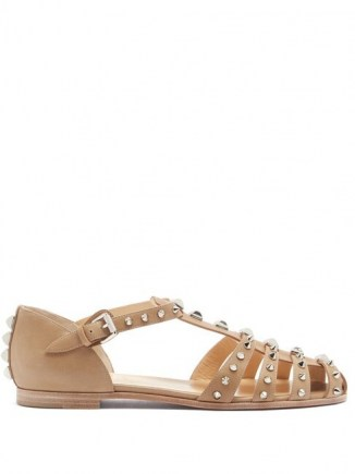 CHRISTIAN LOUBOUTIN LoubiClou studded caged leather sandals in beige ~ spiked flats ~ stud covered flat shoes ~ cut out footwear ~ silver metallic studs