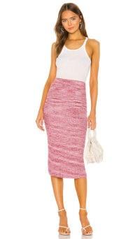 Lovers + Friends Samuel Skirt Multi Raspberry | knit fabric pencil skirts