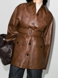 LVIR Signature Stitch belted jacket in brown ~ longline vegan leather jackets