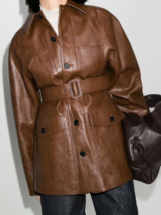 LVIR Signature Stitch belted jacket in brown ~ longline vegan leather jackets - flipped