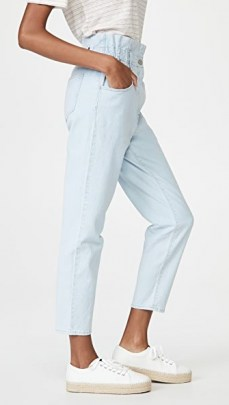 Madewell Classic Straight Paperbag Jeans Broomfield Wash ~ light blue high waist denim jean - flipped