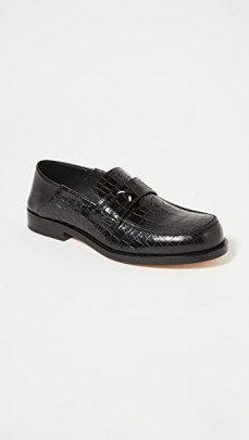 Maison Margiela Camden Moc Croc Convertable Loafers / black crocodile embossed loafer - flipped