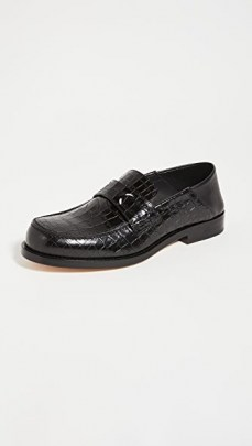 Maison Margiela Camden Moc Croc Convertable Loafers / black crocodile embossed loafer