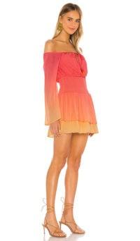 MAJORELLE Kalani Mini Dress Ombre Multi ~ smocked waist mini ~ bardot summer dresses