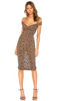 MAJORELLE Tabitha Midi Dress Tan Leopard ~ ruched bardot