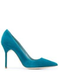 Manolo Blahnik BB Velvet 105mm pumps in blue / stiletto heel courts / high heels / court shoes