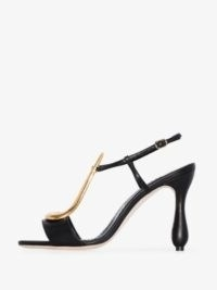 Manolo Blahnik Black Fulgencia 105 Leather Sandals / gold tone scuptural T-bar sandal ❤️ curved heels