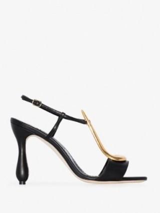 Manolo Blahnik Black Fulgencia 105 Leather Sandals / gold tone scuptural T-bar sandal ❤️ curved heels - flipped