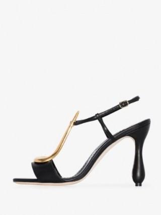 Manolo Blahnik Black Fulgencia 105 Leather Sandals / gold tone scuptural T-bar sandal ❤️ curved heels