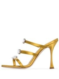Manolo Blahnik Nudosa 105mm crystal-embellished mules in gold satin / strappy crystal high heel mule ❤️
