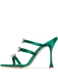 Manolo Blahnik Nudosa 105mm crystal-embellished sandals in green / glamorous triple strap heels