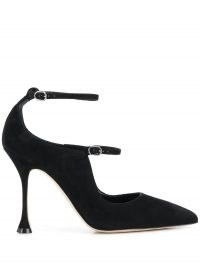 Manolo Blahnik Tomiris suede Mary Jane pumps – black ankle strap mary janes
