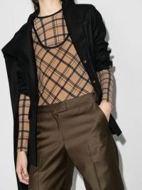 Markoo checked bodysuit in brown