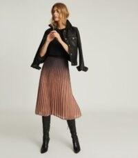 Reiss MARLENE OMBRE PLEATED MIDI SKIRT BLACK/PINK – graduated pink to black metallic skirts