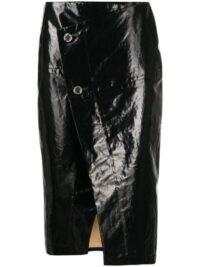 Marni asymmetric buttoned midi skirt in black ~ shiny asymmetrical skirts