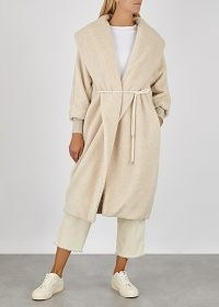 MAX MARA LEISURE Falco cream faux shearling coat / shawl collar coats / luxe style outerwear