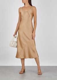 MAX MARA LEISURE Talette light brown satin midi dress – fluid fabric dresses