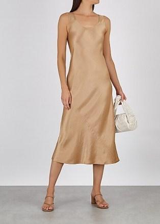 MAX MARA LEISURE Talette light brown satin midi dress – fluid fabric dresses - flipped