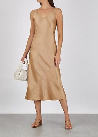 MAX MARA LEISURE Talette light brown satin midi dress – fluid fabric dresses