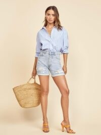 Reformation Max Mid Rise Relaxed Short Tahoe Destroyed | light blue ripped shorts | distressed detailing