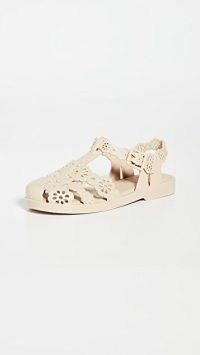 Melissa x Victor & Rolf Possession Lace Flats Beige ~ floral cut out flat shoes