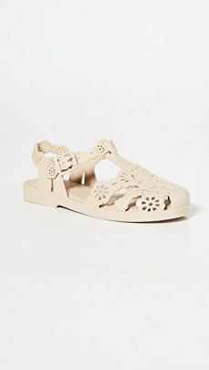 Melissa x Victor & Rolf Possession Lace Flats Beige ~ floral cut out flat shoes - flipped