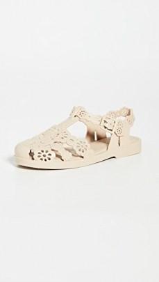 Melissa x Victor & Rolf Possession Lace Flats Beige ~ floral cut out flat shoes
