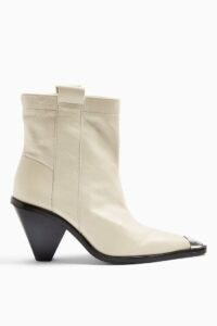 TOPSHOP MELLIE Buttermilk Western Toe Cap Boots ~ neutral cone heel ankle boot ~ angled heels