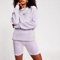 RIVER ISLAND Mens purple slim Maison crew sweatshirt ~ crew neck sweatshirts ~ lilac sweat top
