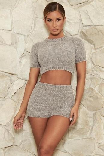 MESHKI CARMELA Chenille T-Shirt ~ fitted crop tops ~ loungewear ~ figure-hugging fashion