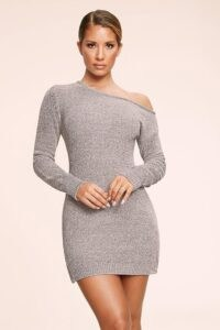 MESHKI ALEGRA Chenille Off The Shoulder Dress Grey ~ fitted dresses ~ figure hugging fashion