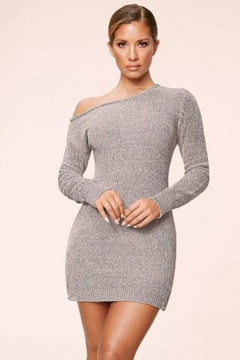 MESHKI ALEGRA Chenille Off The Shoulder Dress Grey ~ fitted dresses ~ figure hugging fashion - flipped