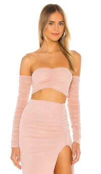 Michael Costello x REVOLVE Isobel Top Pink ~ lurex knit tops ~ ruched strapless crop