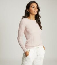 REISS MICHELLE CREW NECK KNITTED TOP PINK ~ long sleeve ribbed knit tops
