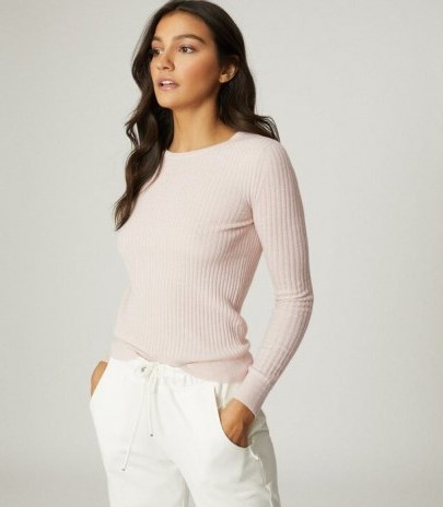 REISS MICHELLE CREW NECK KNITTED TOP PINK ~ long sleeve ribbed knit tops - flipped