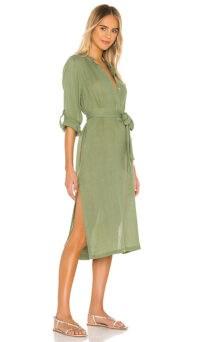 MIKOH Oku Dress Maui Meadow ~ green shirt style midi dresses ~ side slit hemlines