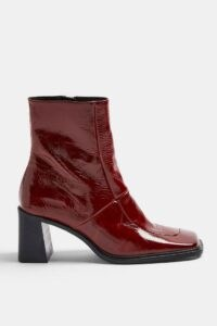TOPSHOP MILAN Red Block Leather Boots ~ glossy square toe boot ~ block heel