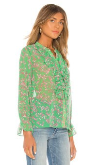 MISA Los Angeles Lillie Top Pink Mini Blooms ~ green front ruffle blouse