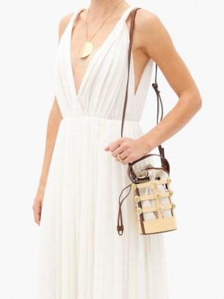 FABRIZIO VITI Miss Daisy raffia and canvas bucket bag ~ flower embellished bags - flipped
