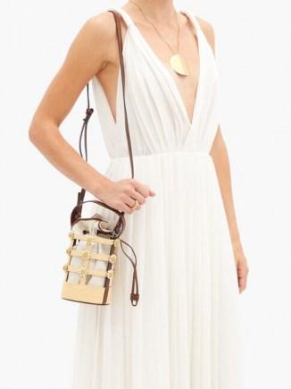 FABRIZIO VITI Miss Daisy raffia and canvas bucket bag ~ flower embellished bags