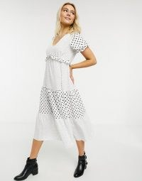 Miss Selfridge mixed polka dot fill midi dress in white / monochrome spot print dresses