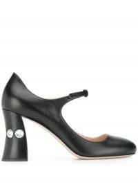 Miu Miu diamante Mary Jane pumps – curved block heels – round toe mary janes