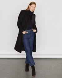 JIGSAW MODERN WOOL MILITARY COAT BLACK / classic double breasted coats