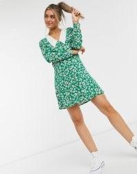 Monki Noomi floral print mini dress in green daisy | vintage style prints