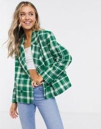 Monki Penny check print blazer in green / checked blazers / checks / bright jackets