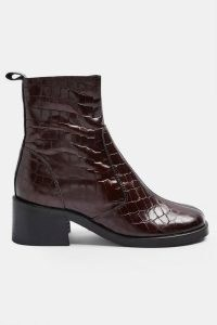 TOPSHOP MOTHER Burgundy Crocodile Round Toe Leather Boots ~ dark red croc effect ankle boot