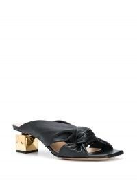 Mulberry Keeley heel drape mule sandals / square block heels / contemporary mules