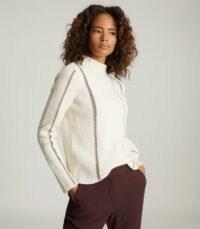 REISS NAOMI METALLIC STRIPE DETAILED JUMPER WHITE / turtle neck ribbed knit jumpers